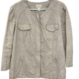 Chico's Linen Zip Shirt Jacket size 2